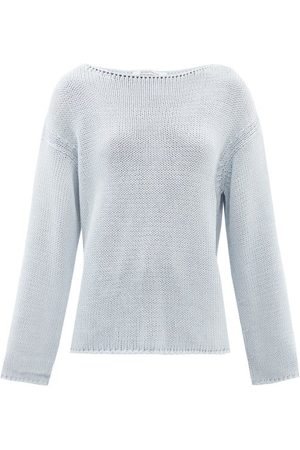 Another Tomorrow Women Sweaters - Boat-neck Cotton Sweater - Womens