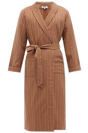 P. Le Moult Striped Cotton-twill Bathrobe - Mens - Stripe