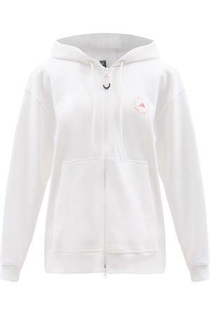adidas Women Sweatshirts - Logo-print Zipped Cotton-blend Hooded Sweatshirt - Womens