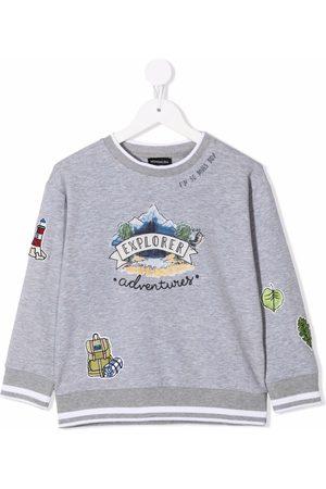 MONNALISA Boys Hoodies - Embroidered patch cotton sweatshirt - Grey