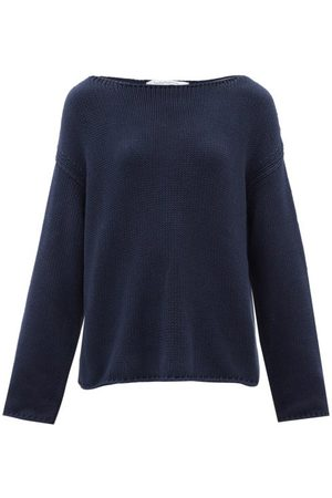 Another Tomorrow Boat-neck Cotton Sweater - Womens - Navy