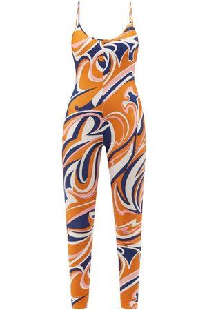Emilio Pucci Vortici-print Jersey Jumpsuit - Womens - Navy Print