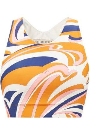 Emilio Pucci Vortici-print High-impact Sports Bra - Womens - Navy Print