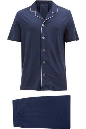 DEREK ROSE Basel Piped-trim Modal-blend Jersey Pyjamas - Mens - Navy