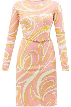 Emilio Pucci Marilyn Belted Vortici-print Jersey Dress - Womens - Multi