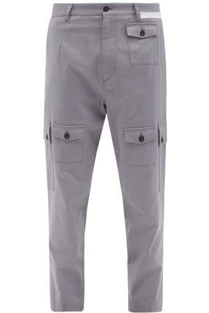 Dolce & Gabbana Side-stripe Cotton-gabardine Cargo Trousers - Mens - Grey
