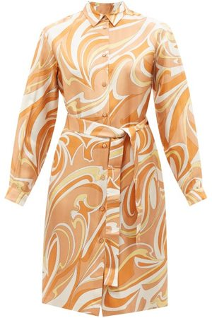 Emilio Pucci Women Casual Dresses - Vortici-print Silk-twill Shirt Dress - Womens - Multi