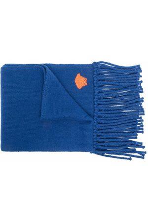 VERSACE Men Scarves - Embroidered-motif fringed-edge scarf