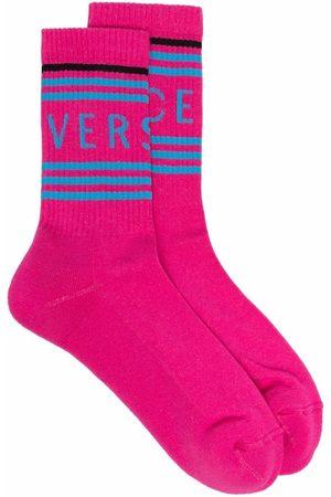 VERSACE Socks - Logo-intarsia ribbed socks