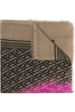 VERSACE Scarves - Graffiti-logo silk scarf - Neutrals