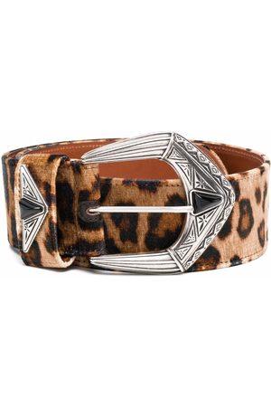 Etro Leopard-print buckle leather belt