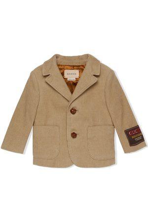 Gucci Blazers - Logo-patch corduroy blazer - Neutrals