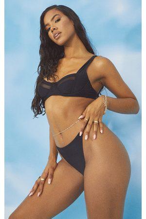 PRETTYLITTLETHING Women Bikinis - Mesh Panel Underwired Bikini Top