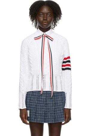 Thom Browne White Raglan Sleeve 4-Bar Sweater