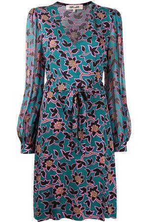 Diane von Furstenberg Women Printed Dresses - Floral-print silk wrap dress