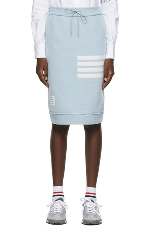 Thom Browne Women Midi Skirts - Blue Cashmere Loopback 4-Bar Sack Skirt