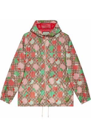 Gucci Men Jackets - Apple-print hooded jacket - Neutrals