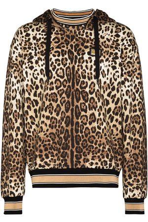 Dolce & Gabbana Men Hoodies - Leopard print cotton hoodie