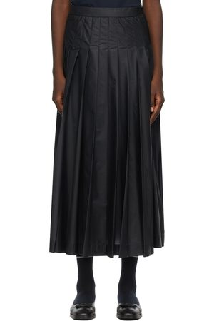 Thom Browne Navy Ripstop Machine Pleated Skirt