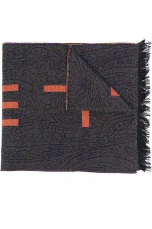 Etro Men Scarves - Contrast jacquard logo wool scarf - Grey
