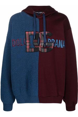 Dolce & Gabbana Men Hoodies - Panelled logo-patch hoodie