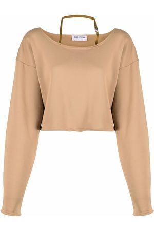 The Attico Women Halterneck Tops - Halterneck relaxed-fit cropped sweatshirt - Neutrals