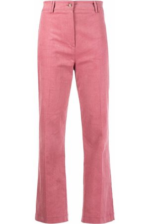 HEBE STUDIO Pressed-crease stretch-cotton straight-leg trousers