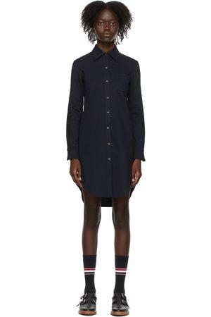 Thom Browne Women Casual Dresses - Navy Cricket Stripe Shirt Dress
