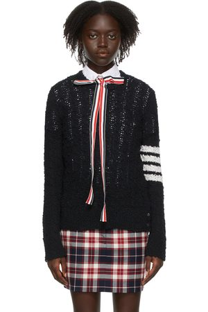 Thom Browne Women Sweatshirts - Navy Tuck Stitch 4-Bar Relaxed Fit Sweater