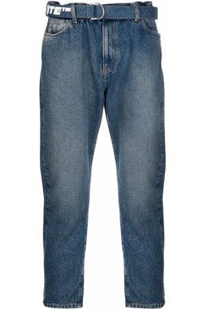 OFF-WHITE Men Straight - Logo-print belt cropped jeans