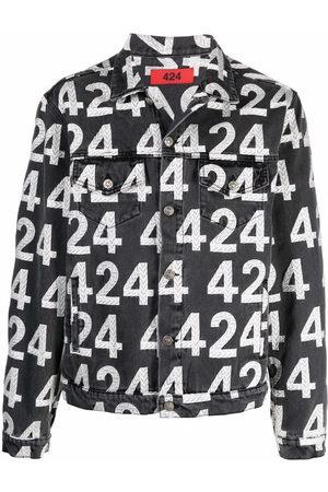 424 FAIRFAX Men Denim Jackets - Logo-print cotton-blend denim jacket - Grey