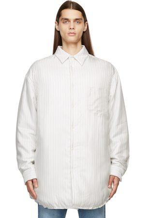 Maison Margiela Men Shirts - White Padded Stripes Lining Shirt