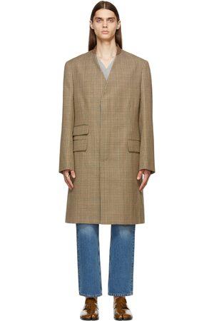 Maison Margiela Off-White Virgin Wool Houndstooth Coat