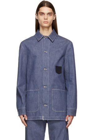 Maison Margiela Men Denim Jackets - Navy Denim Workwear Jacket