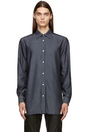 Maison Margiela Men Shirts - Indigo Silk Chambray Shirt