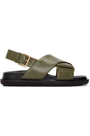 Marni Black & Khaki Fussbett Sandals