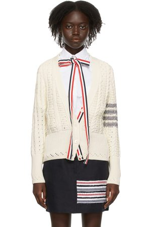 Thom Browne Women Cardigans - Cable Classic-Fit 4-Bar Cardigan