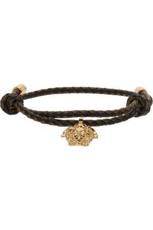 VERSACE Men Bracelets - Black & Khaki Braided Leather Medusa Bracelet