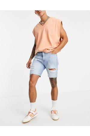 Topman Men Shorts - Ripped slim denim shorts in light wash-Blues