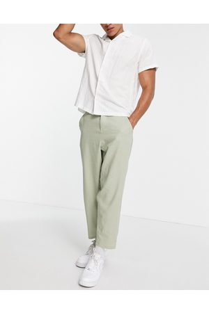 ASOS DESIGN Linen mix oversized tapered pants in sage
