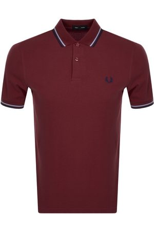 Fred Perry Men Polo Shirts - Twin Tipped Polo T Shirt Burgandy