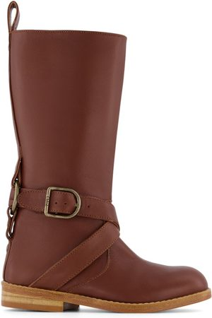 Chloé Kids - Leather Boots with Chloe Engraved Trims - Girl - 28 (UK 10) - - Tall boots