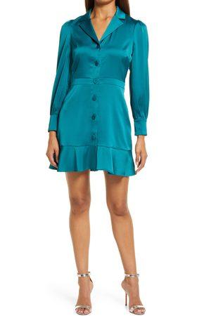 Adelyn Rae Women's Patricia Long Sleeve Sateen Fit & Flare Minidress