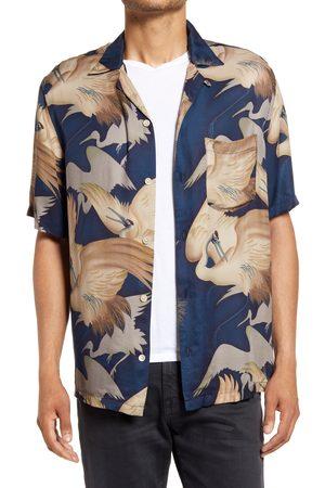AllSaints Men's Wader Relaxed Fit Crane Print Short Sleeve Button-Up Camp Shirt