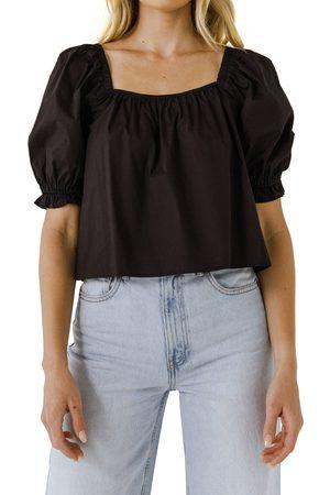 ENGLISH FACTORY Women's Puff Sleeve Cotton Top