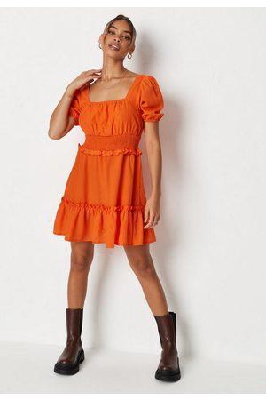 Missguided Shirred Waist Tiered Mini Dress