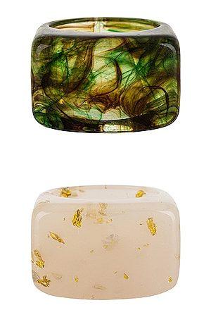 Casa Clara Women Rings - Lemon Ring Set in Green,Ivory.