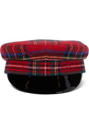 Ruslan Baginskiy Checked wool-blend baker boy cap