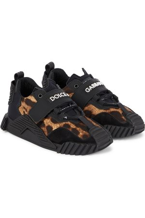 Dolce & Gabbana NS1 leopard-panel leather sneakers
