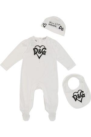 Dolce & Gabbana Baby printed onesie, bib and hat set